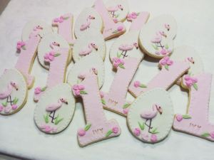 Ivys first birthday baby biscuits flamingoes