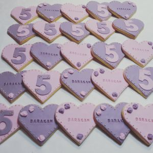5th birthday heart biscuits