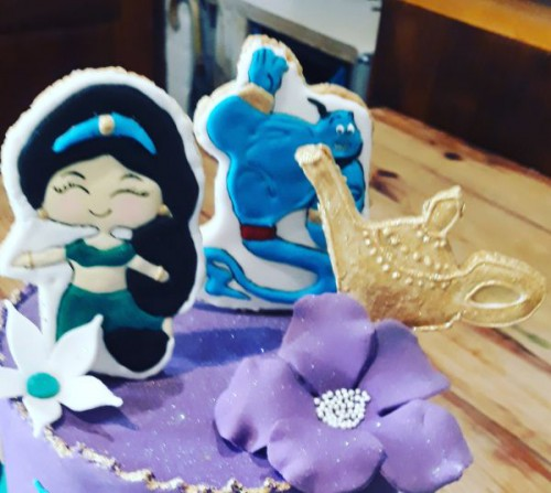 Homemade Alladin Cake with decorated cookies toppers 500