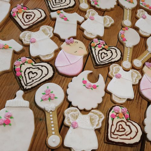 Homemade Baby shower biscuits  -Hearts bottles baby grows rattles - cookies 500