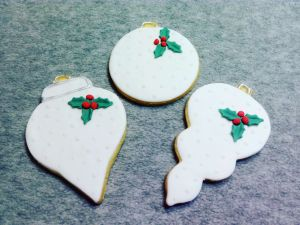 Christmas biscuits - white baubles