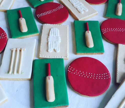 Homemade Cricket themed biscuits 500