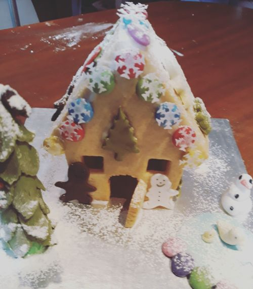 Edible Ginger Bread House Built  from biscuits by Quinn 4 years old - 500