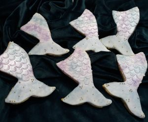 Homemade biscuits: mermaid tails