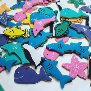 Homemade biscuits - Sharks, dolphins, whales starfish, fish 300