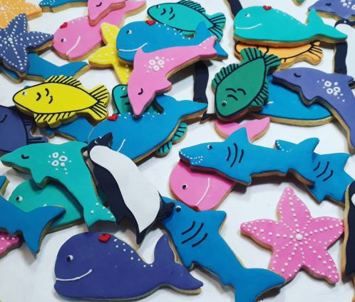 Homemade biscuits:  Sharks, dolphins, whales starfish, fish 500